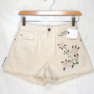Zara cream shorts with floral embroidery
